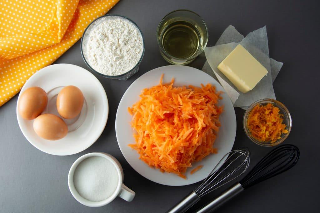 Les ingrédients du carrot cake