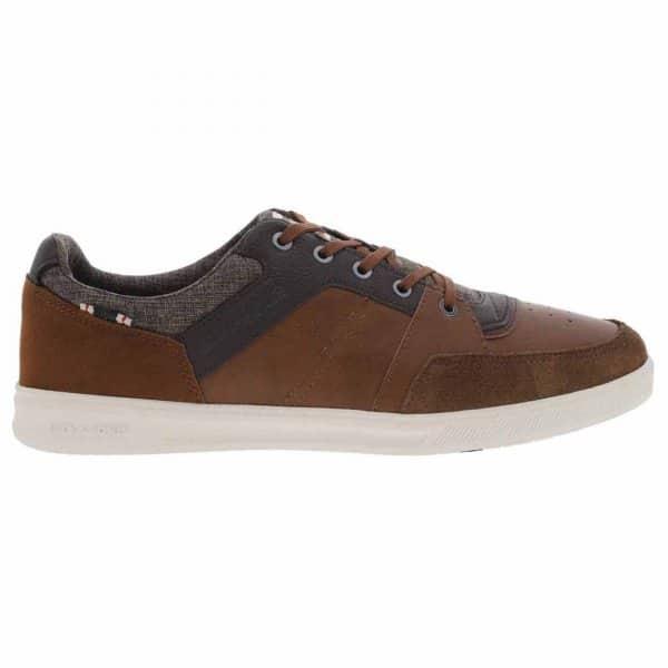 Chaussures Jack & Jones Newington en cuir et en toile marron et gris chiné