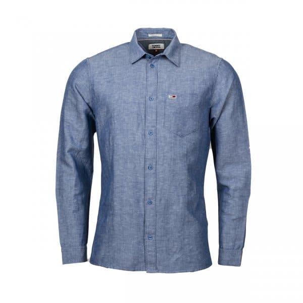 Chemise coupe droite manches longues Tommy Jeans Linen Blend en lin bleu effet denim